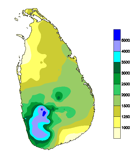 annual rainfall in sl
